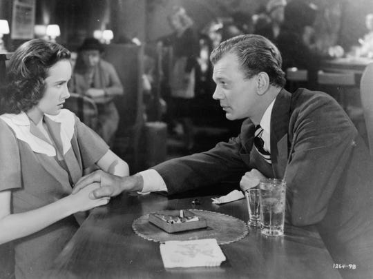 "Teresa Wright finds Joseph Cotten kind of creepy in ""Shadow of a Doubt."""