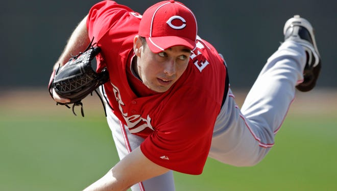 Reds pitcher Jeff Francis throws live batting practice during spring training in 2012.