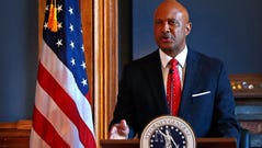 Indiana Attorney General Curtis Hill makes a statement,