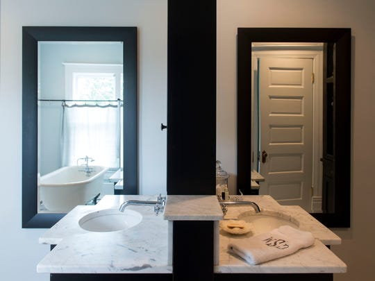 The Stairs' master bathroom gives new meaning to the concept of double sinks with its back-to-back free standing sinks.