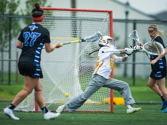 Salisbury University goalkeeper Giana Falcone (46) is beat on a shot in sudden death overtime against Franklin and Marshall in the NCAA Division 3 Women's Lacrosse Regional Final on Sunday, May 22 at Sea Gull Stadium in Salisbury.
