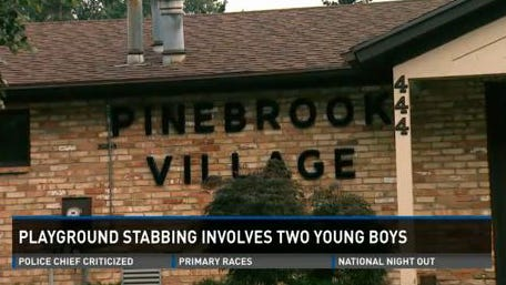 A 9-year-old boy was fatally stabbed at a playground in the Pinebrook Village community in Kentwood, Mich., on Monday, Aug. 4, 2014. A 12-year-old boy turned himself in.