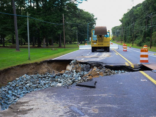Route 12 between Mount Olive Church Road and West Hills Drive has washed out due to the rain last week. It was closed to traffic Monday, Oct. 3, 2016.
