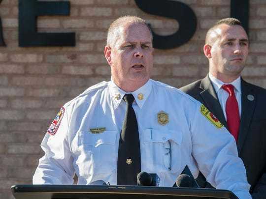 Salisbury Fire Department Chief Richard Hoppes speaks to the media during a press conference to address a conflict concerning Fire Station 1 on Thursday, Feb. 23, 2017.