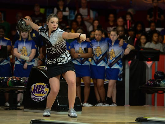 The Shore's Melanie Copey bowls against North Carolina A&T during the Mid-Eastern Athletic Conference bowling championship on Sunday, March 26, 2017 in Chesapeake, Va.