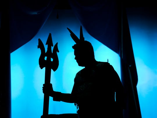 Camper Frank Testa performs as King Triton in a 'Little Mermaid' rehearsal at the Dennis Flyer Theatre in Blackwood as part of the Summer Stage Program of Mainstage Center for the Arts.