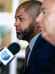 Memphis Grizzlies interim head coach J.B. Bickerstaff is introduced as the team's new full-time head coach during a press conference at the FedExForum Tuesday afternoon,