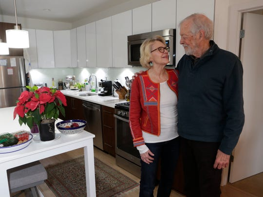 Bailey and Joanne Livesey at their apartment at Harbor Square in Ossining.