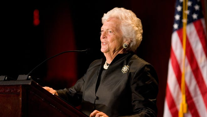 Barbara Bush commands the stage and helps the Medical Foundation of Marion & Polk Counties raise a quarter million dollars for MedAssist, a prescription program for low-income residents.