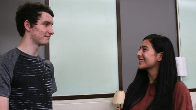 "Guy Berry College and Career Academy Seniors Sheldan Dodson, 17, and Sierra Villalvazo, 18, discuss their plans after graduation. Both students have excelled academically at the ""alternative school,"" and attribute it to the smaller classroom size."