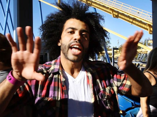 """On their day off, the cast and crew of """"Hamilton"""", one of Broadway's hottest shows, spent the afternoon at Six Flags Great Adventure and sampled many of the park's thrill rides. Daveed Diggs who plays Thomas Jefferson, reacts after riding Nitro."""