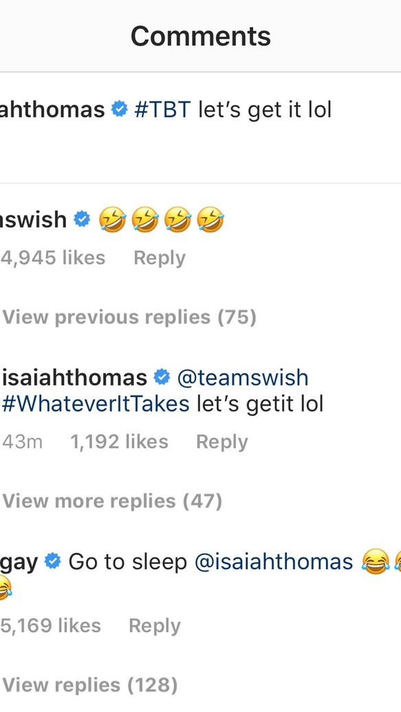 J.R. Smith got a good laugh out of Isaiah Thomas' Cavs #TBT photo before NBA Finals