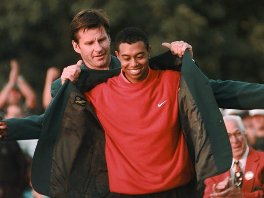 FILE - In this April 13, 1997 file photo, Masters champion