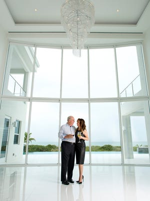 Michael and Helene Hall  in their Captiva home.