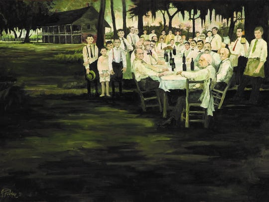 Probably his most famous Cajun painting, the Aioli Dinner (1971, 32×46 inches) is George Rodrigue's first painting with people