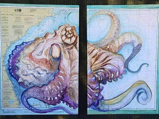 ArtFest By The Sea artwork - Hypoluxo, Mixed Media - Mejeur. Palm Beach County mixed media artist Carly Mejeur paints an octopus on a 2-panel canvas with a printed nautical chart for this diptych.