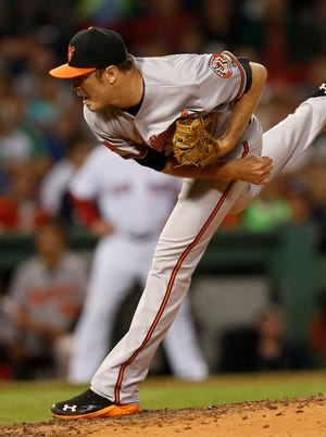 Baltimore pitcher Chris Tillman in action during the Orioles' 3-2 win over the Red Sox.