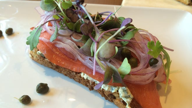 Smoked Salmon Sandwich at Prairie Berry East Bank.