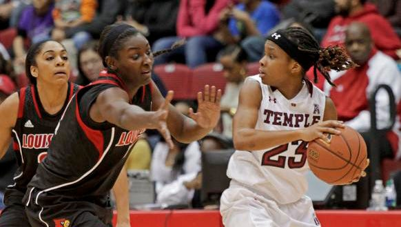 Louisville's Asia Taylor, left, defends as Temple's Tyonna Williams (23) looks to pass during the first half of an NCAA college basketball game, Wednesday, Jan. 1, 2014, in Philadelphia. Louisville won 77-68. (AP Photo/H. Rumph Jr)