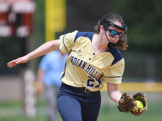 IHA vs. Indian Hills in the Bergen County Softball Tournament semifinals at Pascack Hills High School on Saturday, May 26, 2018. IH #27 Kelsey McLennan makes a catch.