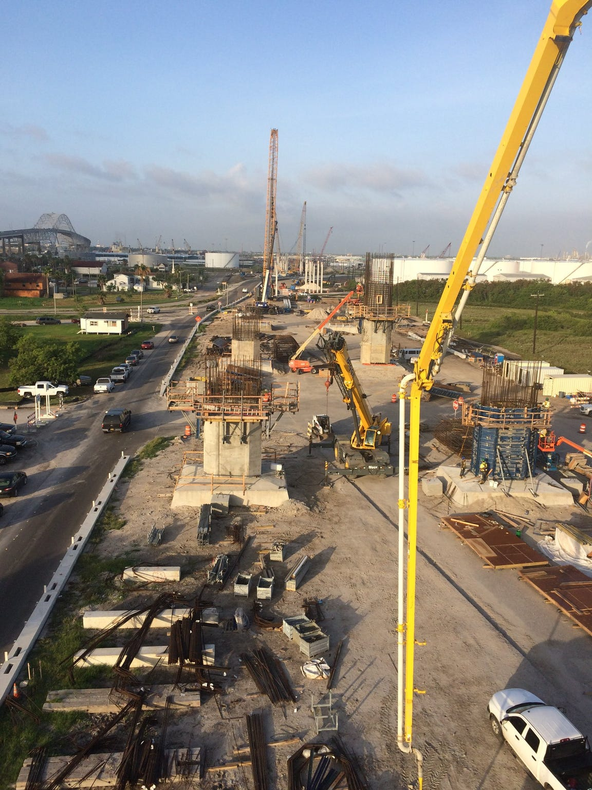 Construction crews work on the new Harbor Bridge project.