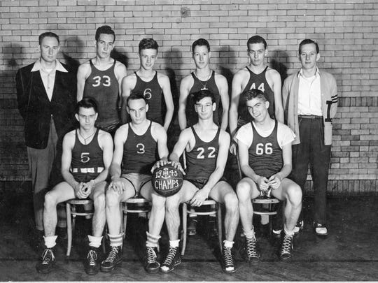 Anchor Hocking champions of 1945. Front row, from left: Joe Armstrong, Ted Wharton, Jim Christian and Dick Hansley. Back row: Alex Hart, Don Tudor, Dick Herdman, Bill Lytle, Martin Tinker and manager Tom Pearce. All attended Lancaster High School except for Wharton, who attended Rushville Union High School.