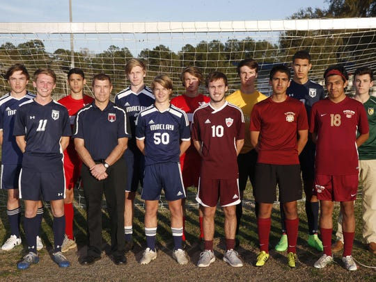 The 2016 boys soccer All-Big Bend first team. Front