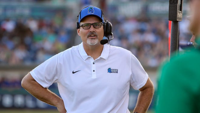 UWF head coach Pete Shinnick on the sideline during a game against Chowan at Blue Wahoos Stadium on Sept. 16 at Blue Wahoos Stadium.