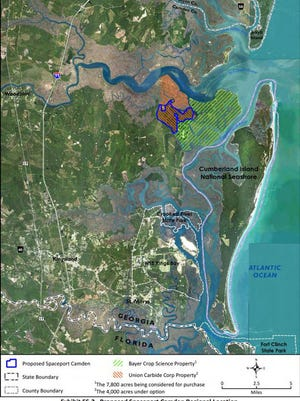 The map from the 2018 draft Environmental Impact Statement shows the proposed location of Spaceport Camden. Little Cumberland sits at the north end of the Cumberland Island National Seashore.