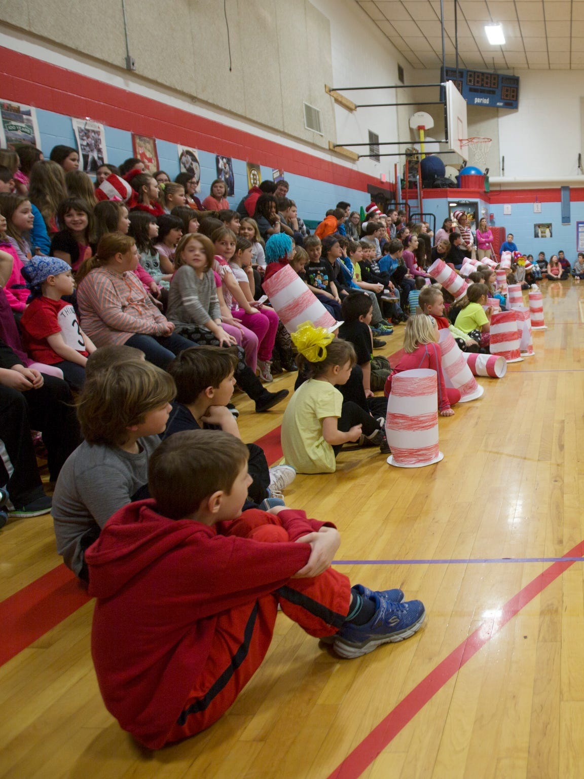 Students at Dedham School in Dedham, Maine, take part in an assembly March 3, 2016.