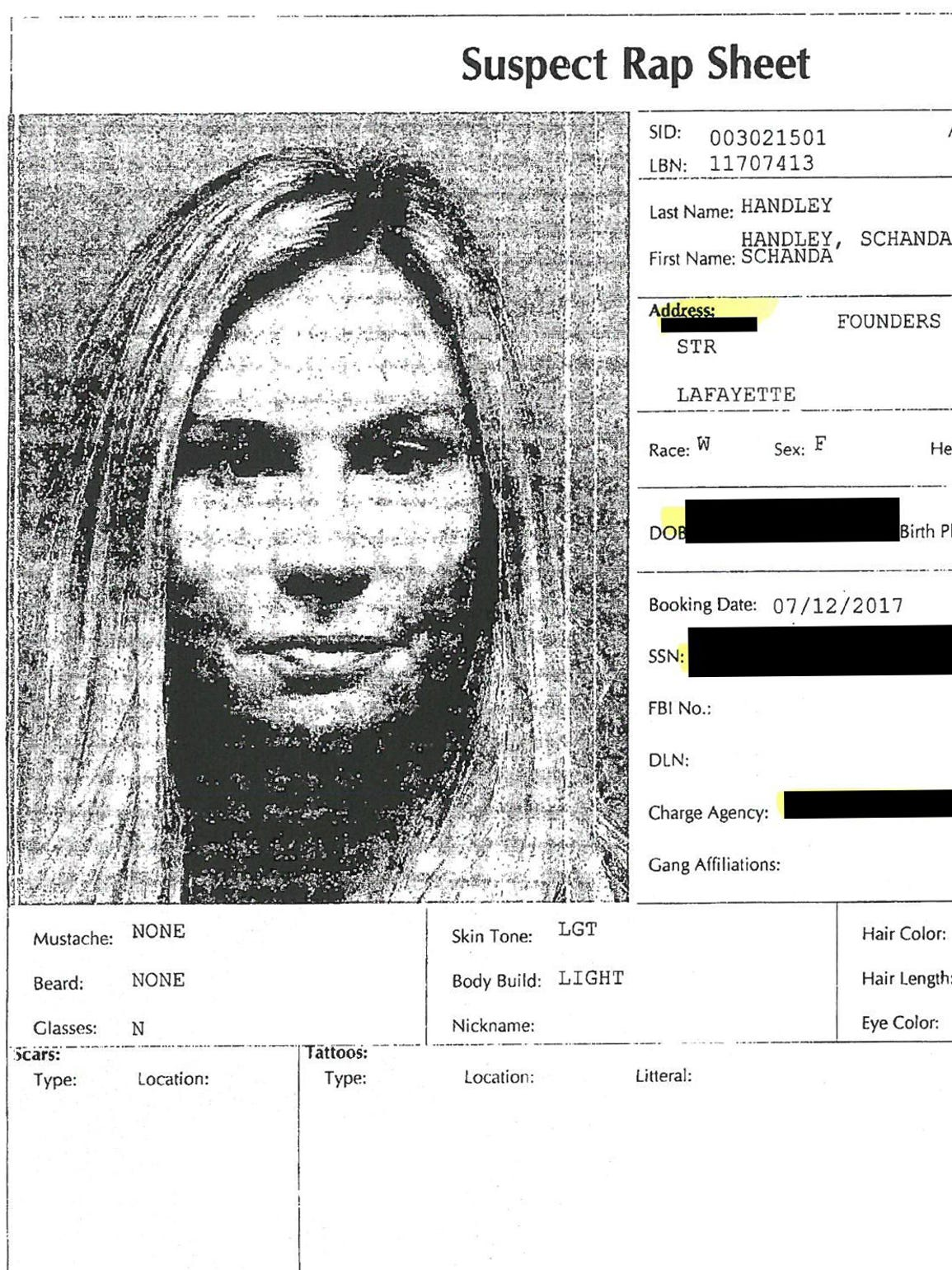 The booking report for Schanda Handley from July 2017