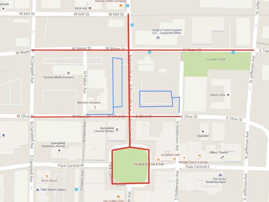 The red represents the streets that will be closed