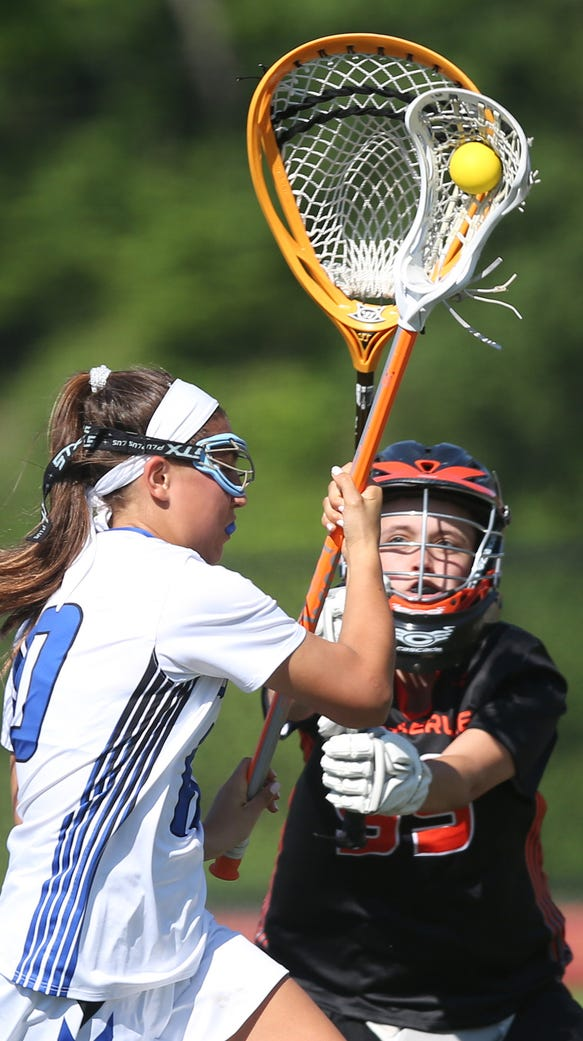 Bronxville's Isabel Sondey (20) drives to the goal
