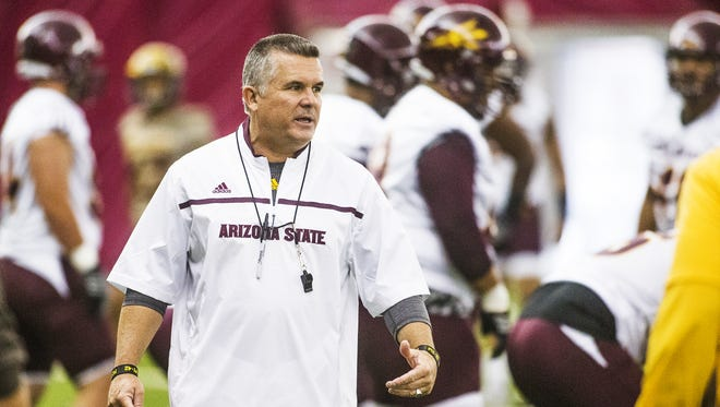 Arizona State University Head Coach Todd Graham supervises practice at the Dickey Dome on campus, Wednesday, August 5, 2015.