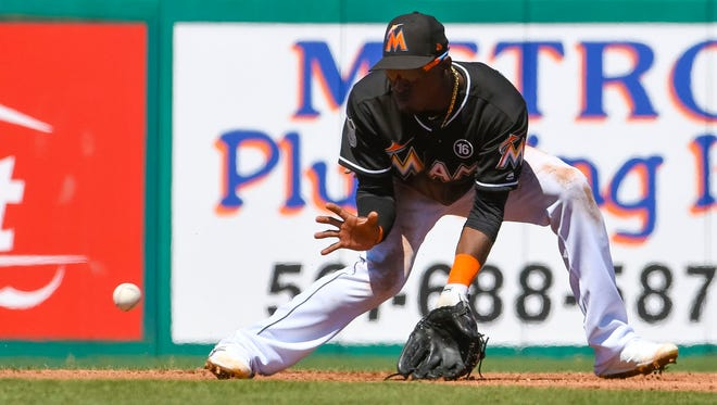 Adeiny Hechavarria was batting .277 with the Marlins before he was traded.