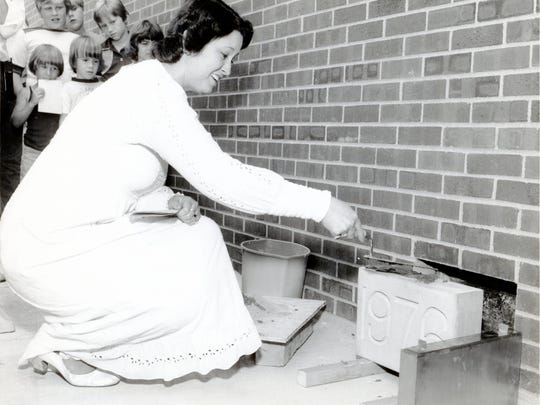Ginny Kohl, vice chairwoman of the Library Board at the June 20, 1976, cornerstone dedication ceremony. Today this building is called the Florence branch.