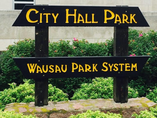 The misspelled panel on a Wausau Park System sign,