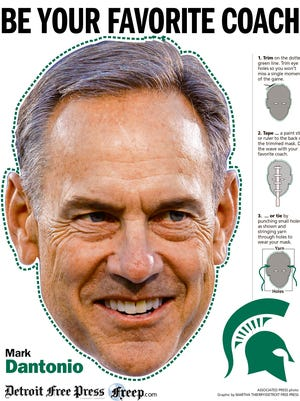 We've created special masks for you for Saturday's MSU-Michigan game. This is a preview of the Mark Dantonio mask.