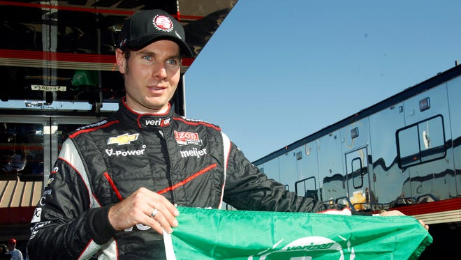 Will Power displays the pole position flag Friday after qualifying first for Saturday's IndyCar season finale at Auto Club Speedway.