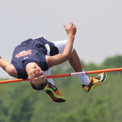 Galion's Colton Moore clears 6-5 in the high jump to