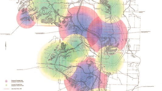The green-shared areas represent existing coverage by the City of Lake Ozark and Ameren Missouri sirens. The darker-shared areas represent the additional coverage areas if four proposed sirens are funded and installed.