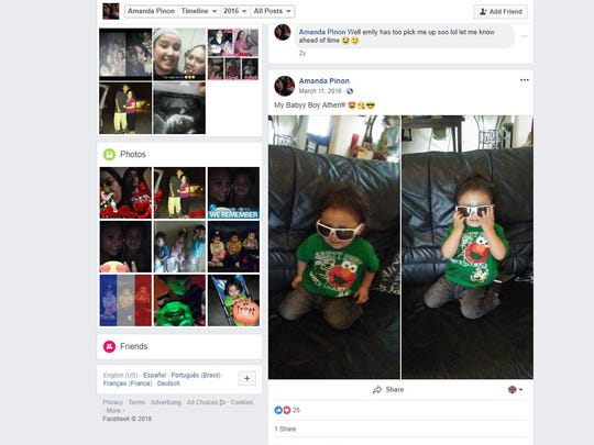 A screenshot shows a photo of Athen Pinon in 2016 on Amanda Pinon's Facebook page. Amanda Pinon, his mother, is one of two suspects in his murder.