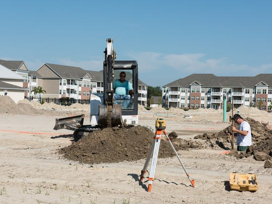 A view of the construction taking place at Ocean Aisle apartments on Beaglin Park Drive on Wednesday, Sept. 14, 2016.