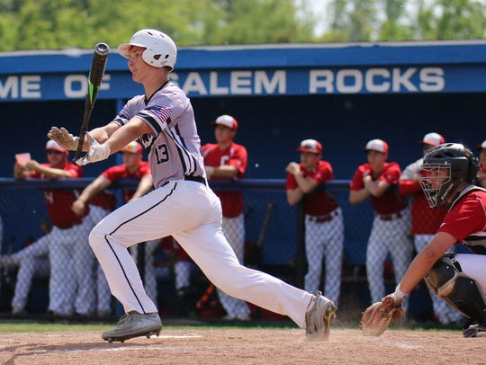 Connecting on a home run Saturday for Plymouth is junior