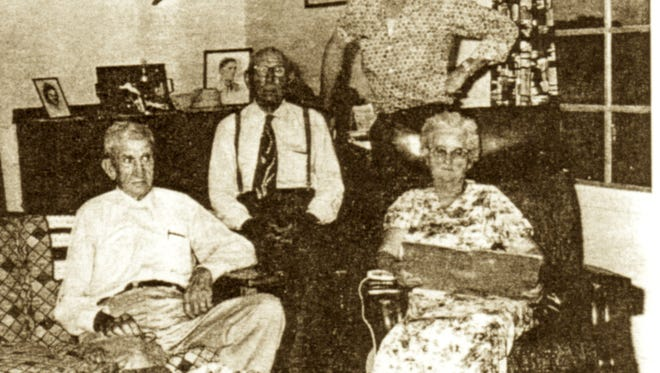 From left, are Jack Breen, former Deputy Sheriff; Juan Favela, Johnny Wright and Maude Wright.  All were involved in the 1916 raid.  Photo taken in the 1960s.