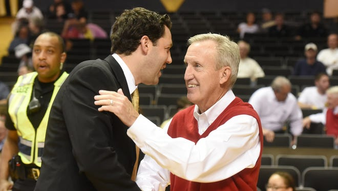 Vanderbilt second-year coach Bryce Drew, left, and Belmont's Rick Byrd will lead their team's against each other in a game at Belmont's Curb Event Center in November 2016.