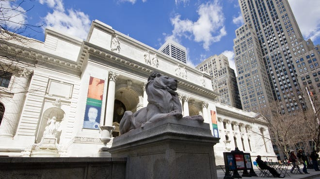 The New York Public Library's main branch, the Stephen A. Schwarzman building, on 42nd Street in New York.