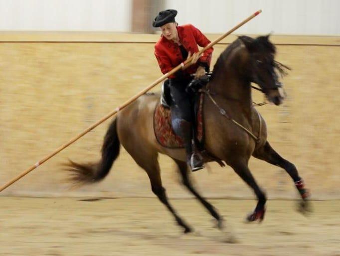 Christina Drentwett works her horse in practice at the Skyline Equestrian Center near Elkhart Lake last week.