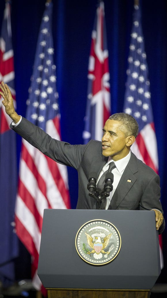 President Obama addresses an audience at the University