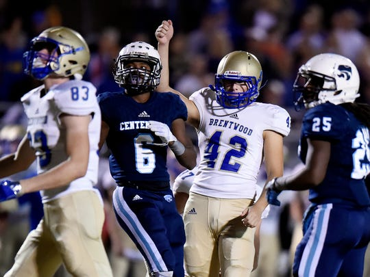 Brentwood kicker Tucker Day (42) celebrates after kicking a field goal against Centennial during a playoff game Nov. 18, 2016, in Franklin.